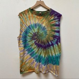 Anvil Multicolor Tie Dye Unisex Muscle Tank Top